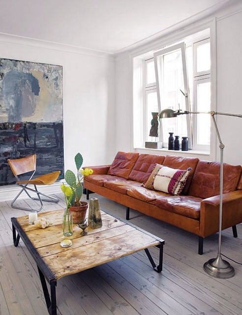 Wood + Metal Table In Vintage Rustic Living Room Design Love The Brown  Leather Sofa