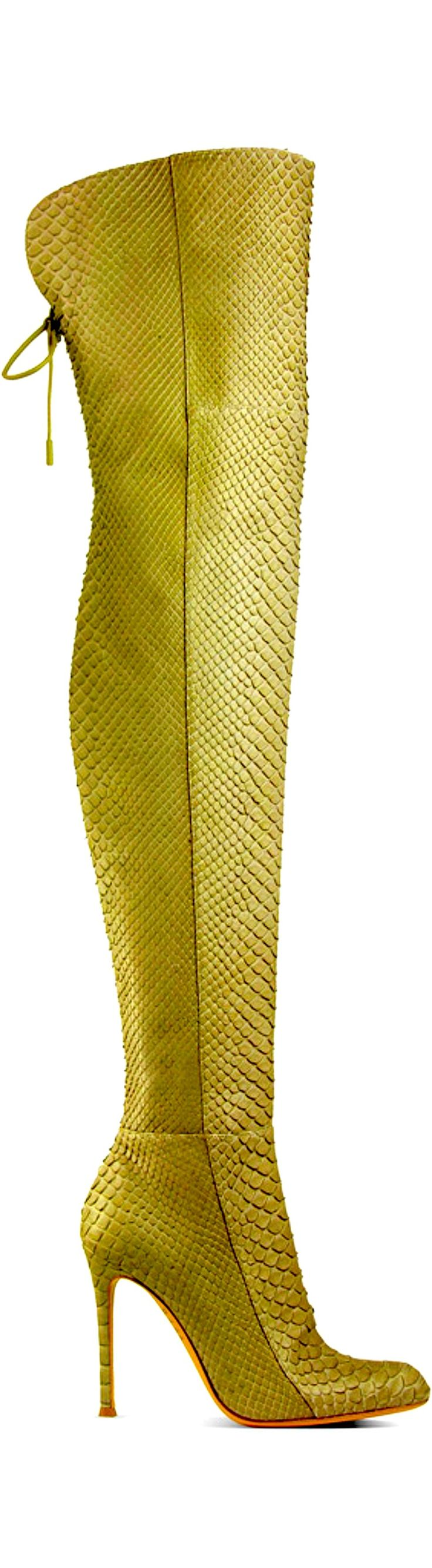 be colorful. reptile. thigh high boots.