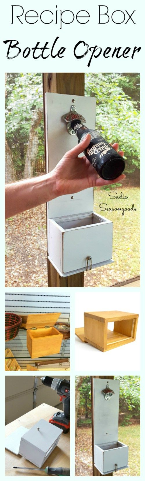 """A wooden recipe box from the thrift store is an ideal """"cap catcher"""" for a DIY bottle opener! Such an easy repurpose project with a genius """"trap door"""" to dispose of the caps. Another fun thrift store DIY makeover and upcycle craft from #SadieSeasongoods / www.sadieseasongoods.com"""