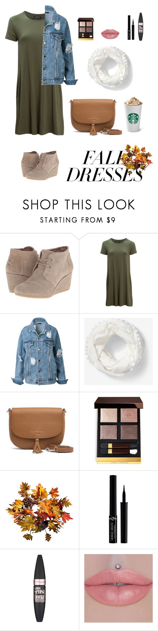 """Fall Dresses"" by miriamk2020 ❤ liked on Polyvore featuring TOMS, United by Blue, Express, Tommy Hilfiger, Tom Ford, Improvements, Giorgio Armani and Maybelline"