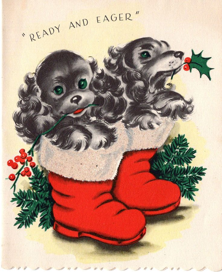 Vintage Christmas Duets Card:  COCKER SPANIEL PUPPIES IN BOOTS - GLITTER