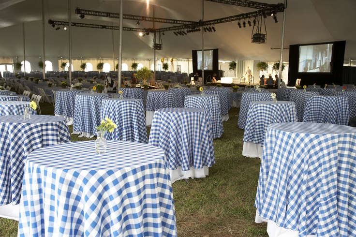 Centerpiece Ideas For Dinner Party : Blue white checkered table cloths wedding ideas