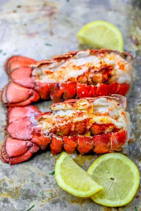 This 10 Minute Perfect Broiled Lobster Tails Recipe is the quickest, tastiest, and easiest way to cook lobster tails - get perfect oven broiled lobster tails every time! The best way to cook lobster tail in the oven for a restaurant style buttery lobster tail dinner in under 10 minutes with no fishy taste or smell!