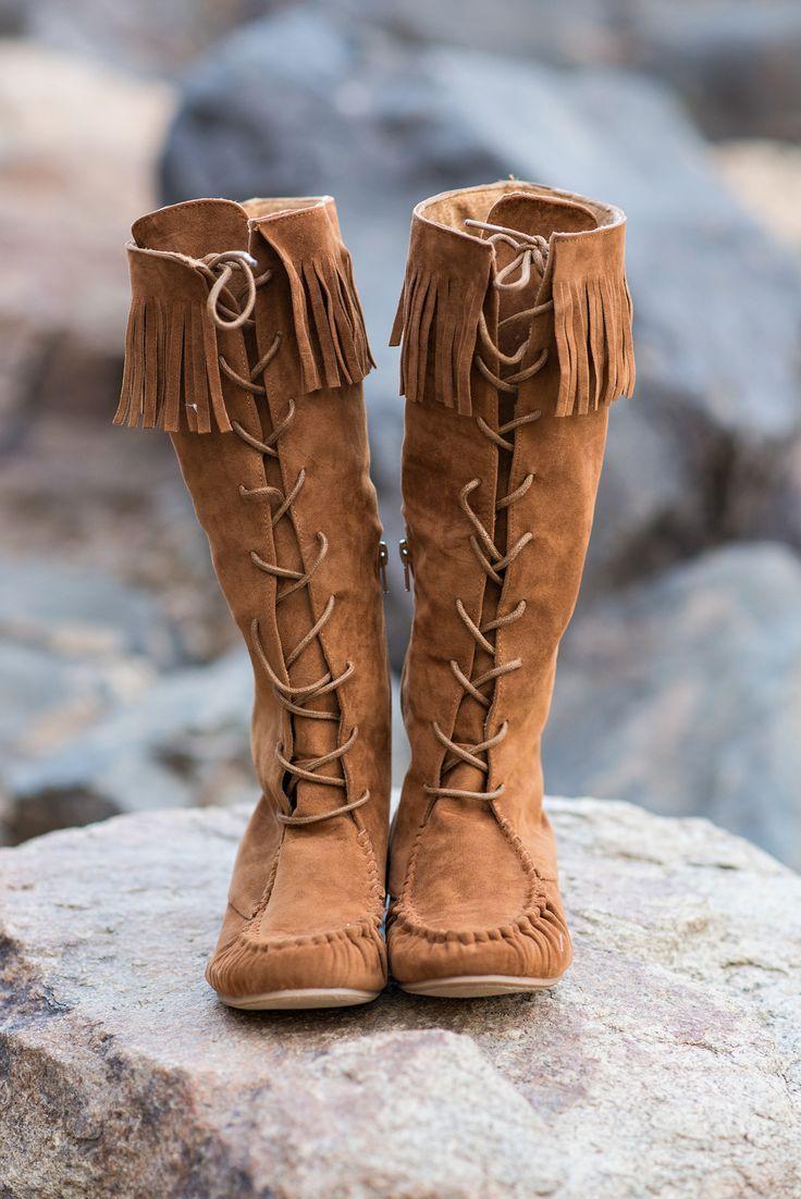 womens high heel shoes, womens dress shoes, womens summer shoe - Bohemian Queen Lace Up Moccasin Boots - NanaMacs.com - 1