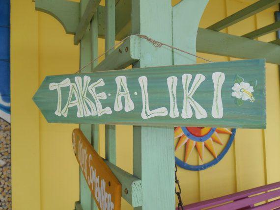 Funny tiki-style patio sign