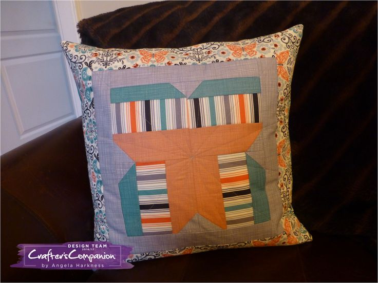 Butterfly patchwork block cushion using Makower Papillon and Linea fabric collections.  Designed by Angela Harkness #crafterscompanion