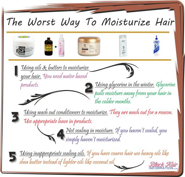 Sometimes one can moisturize your hair wrong. This infographic shows the most common mistakes.