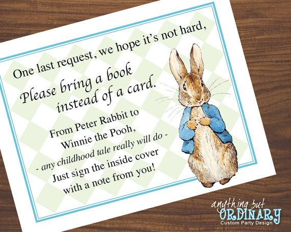 Book Request Cards, Peter Rabbit Baby Shower, DIY Build A Library Inserts, INSTANT DOWNLOAD printable digital file