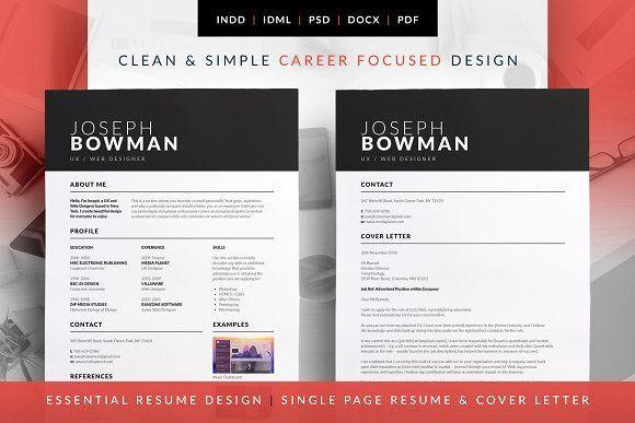 Essential Resume - Joseph by bilmaw creative on @creativemarket