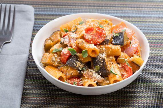 Rigatoni Puttanesca with Eggplant & Fresh Oregano. Visit https://www.blueapron.com/ to receive the ingredients.