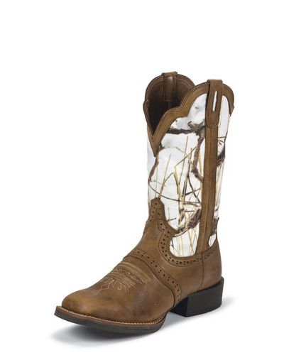 Justin Women's Tan Dakota White Camo Cowgirl Boot L7203 | eBay