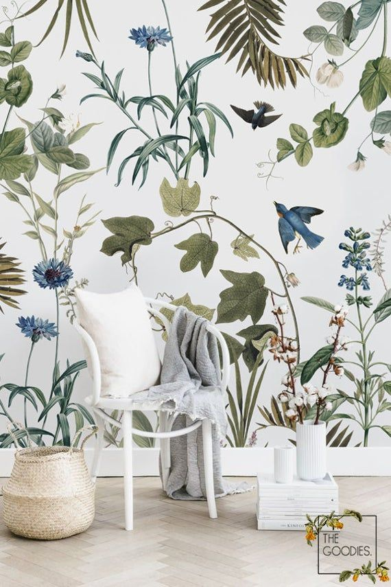 Blue Birds Wallpaper Spring Floral Removable Or Traditional Wall Mural Custom Sizes Colors And Desi In 2021 Blue Wall Decor Botanical Wallpaper Removable Wallpaper