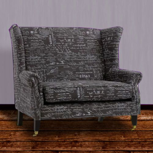 French Script Wingback Settee Transitional Loveseat Chair