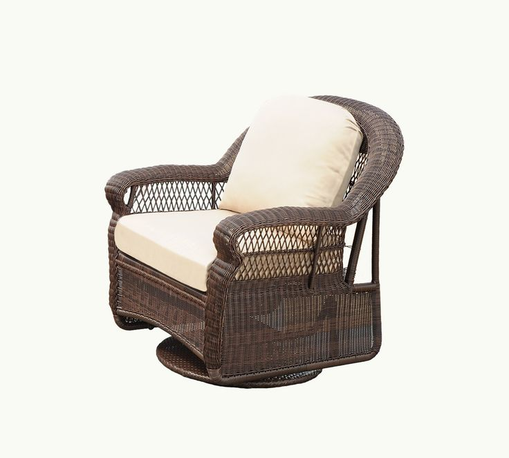 South Sea Rattan Montego Bay Swivel Glider in Mink Finish, Jockey Red. Hand-woven, all-weather synthetic wicker. Sturdy, fully-welded aluminum framing. Mold and mildew resistant cushions. Fabric warrantied five years against fade & wear.