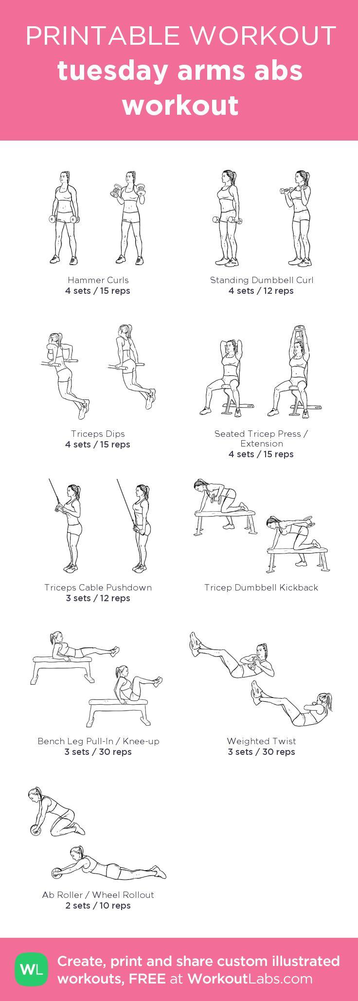 tuesday arms abs workout:my custom printable workout by @WorkoutLabs #workoutlabs #customworkout