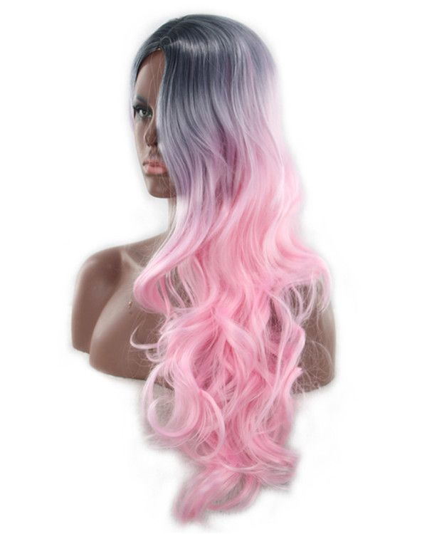 2017 New Ombre Pink Ombre Long Wavy Cosplay Wig #1B/Pink Costume Wig For Women