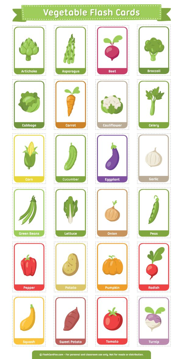 Free printable vegetable flash cards. Download the PDF at http://flashcardfox.com/download/vegetable-flash-cards/
