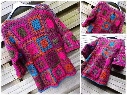 Crochet, Granny Squares Sweater, free pattern