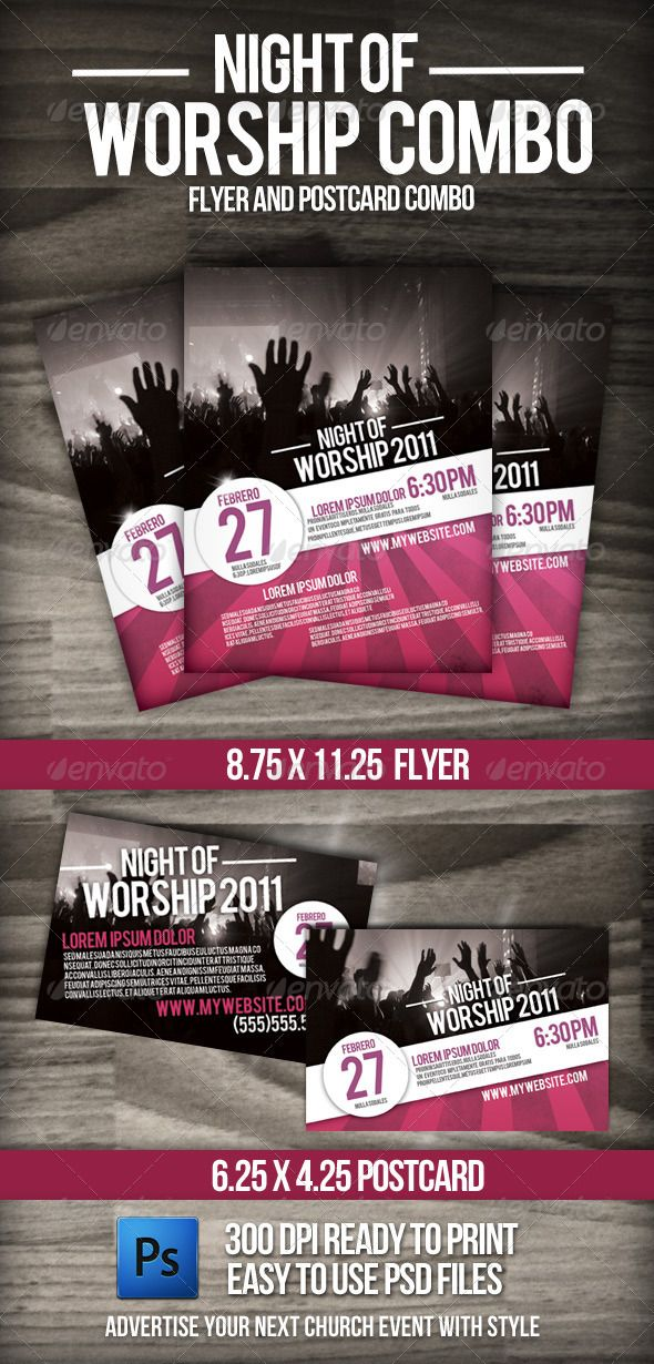 Night of Worship set  #GraphicRiver         This 8 1/2 by 11 flyer can be personalized with your own information and can be used to advertise your next youth event or concert. This set also includes a 6×4 postcard with bleed.