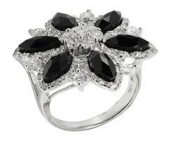 Inel argint 925 rodiat ,design italian cu pietre  zirconia albe si  negre.