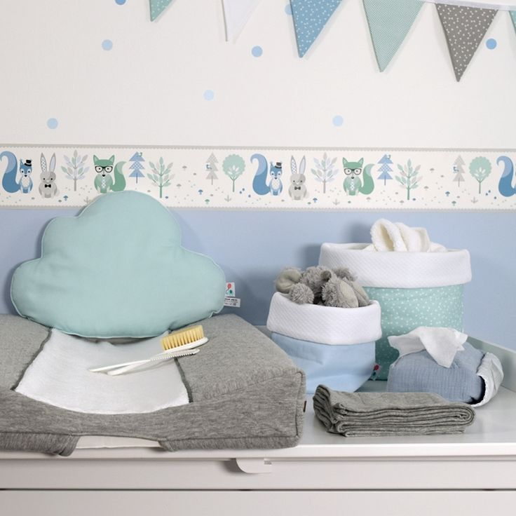 Kinderzimmerrand Waldtiere Blau Mint Grau Selbstklebend Babyzimmer Wand Babyzimmer Wandgestaltung Kinder Zimmer Bordure Kinderzimmer