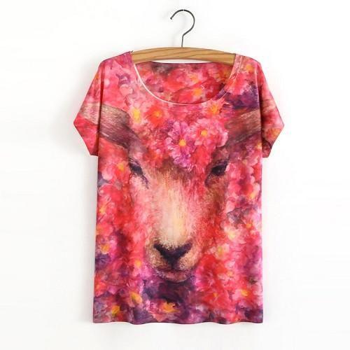 Hot Sale One Size Loose Short Batwing Sleeve Women's T-Shirt Cute Cat Printed Tees Women T Shirt Animal Print Cotton Tops