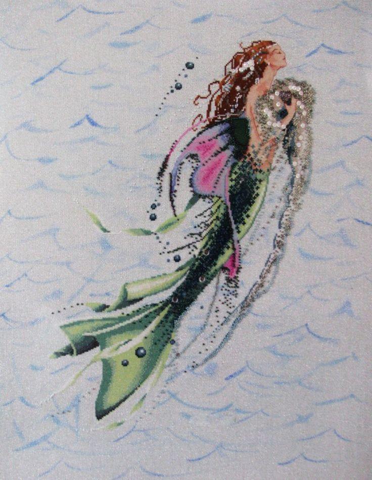 Sirena sobre lino brillante (Scarlett's Creaciones)