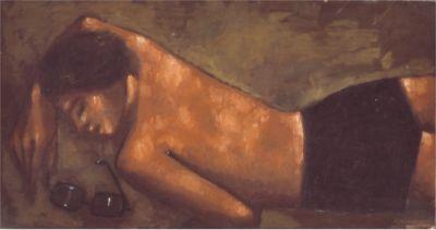 """Jerzy Nowosielski, """"Akt z okularami (Akt na plaży)"""", 1945, olej/płyta pilśniowa, wł. Teresa i Andrzej Starmachowie"""