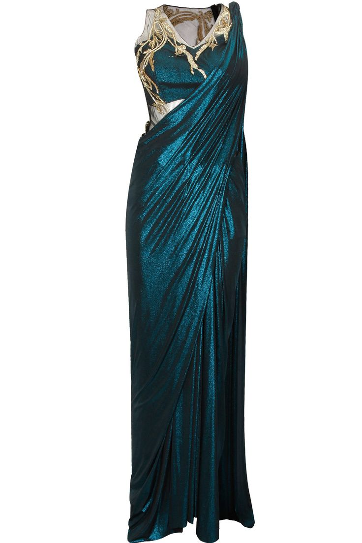 GAURAV GUPTA Blue shimmer gold metal embroidered sari gown available only at Pernia's Pop-Up Shop.