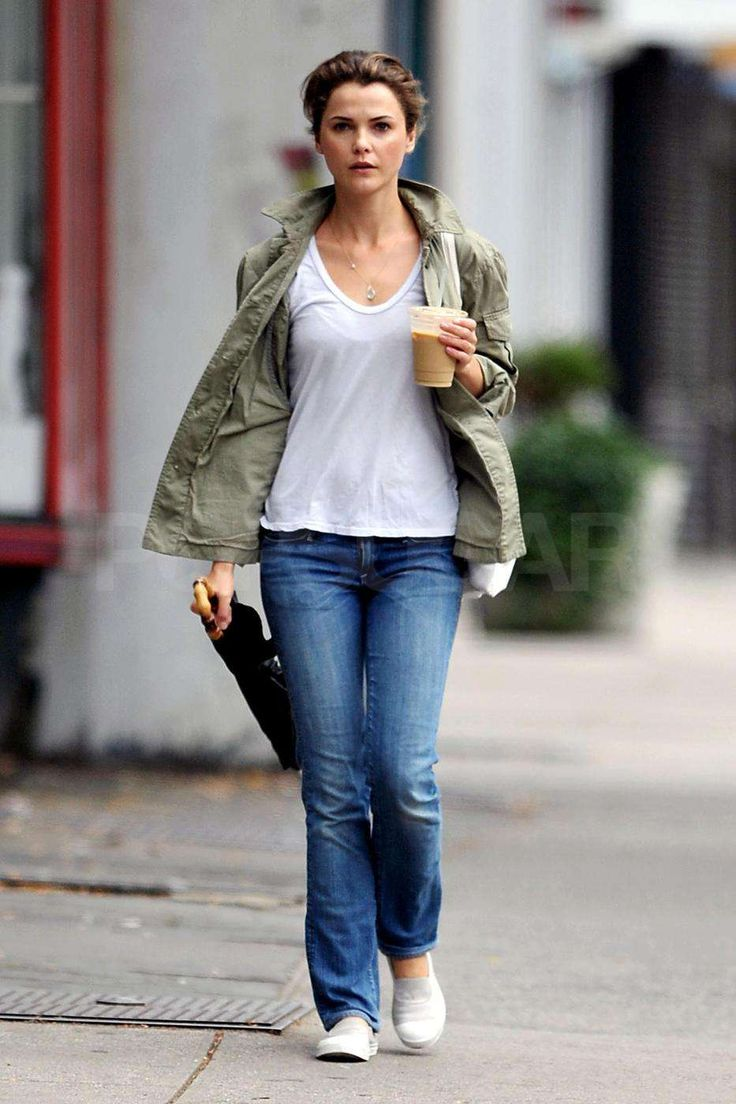 A pair jeans similar to this would be great. I only like wearing sneakers with a wider leg jeans. I feel like sneakers & skinny jeans make my feet & hips look bigger than what they are. I would wear this outfit with a colored shirt