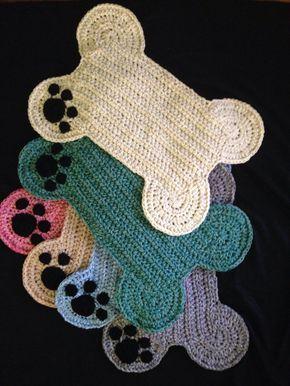 Dog Bone Placemat Rug; Pet Crate Mat - Paw Print; Food Floor Mat Large Size, Many colors!