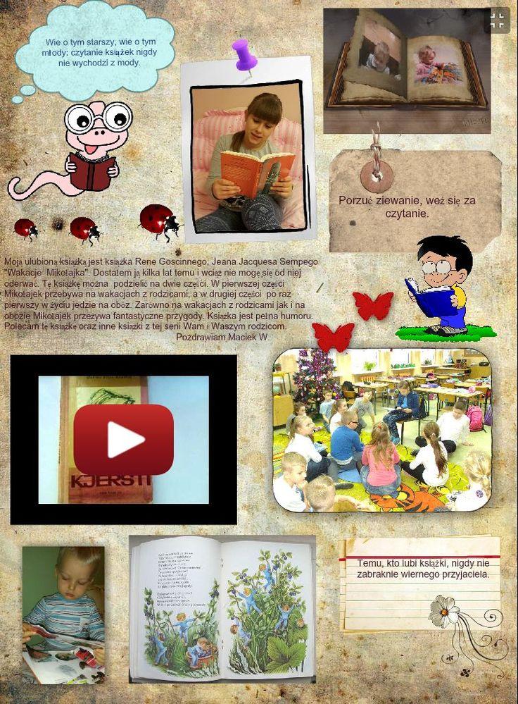 Plakat multimedialny promujący czytanie, przygotowany przez Jakuba.