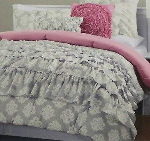 cynthia rowley 4pc ruffled dorm comforter set twin xl gray pink new comforter ruffled. Black Bedroom Furniture Sets. Home Design Ideas