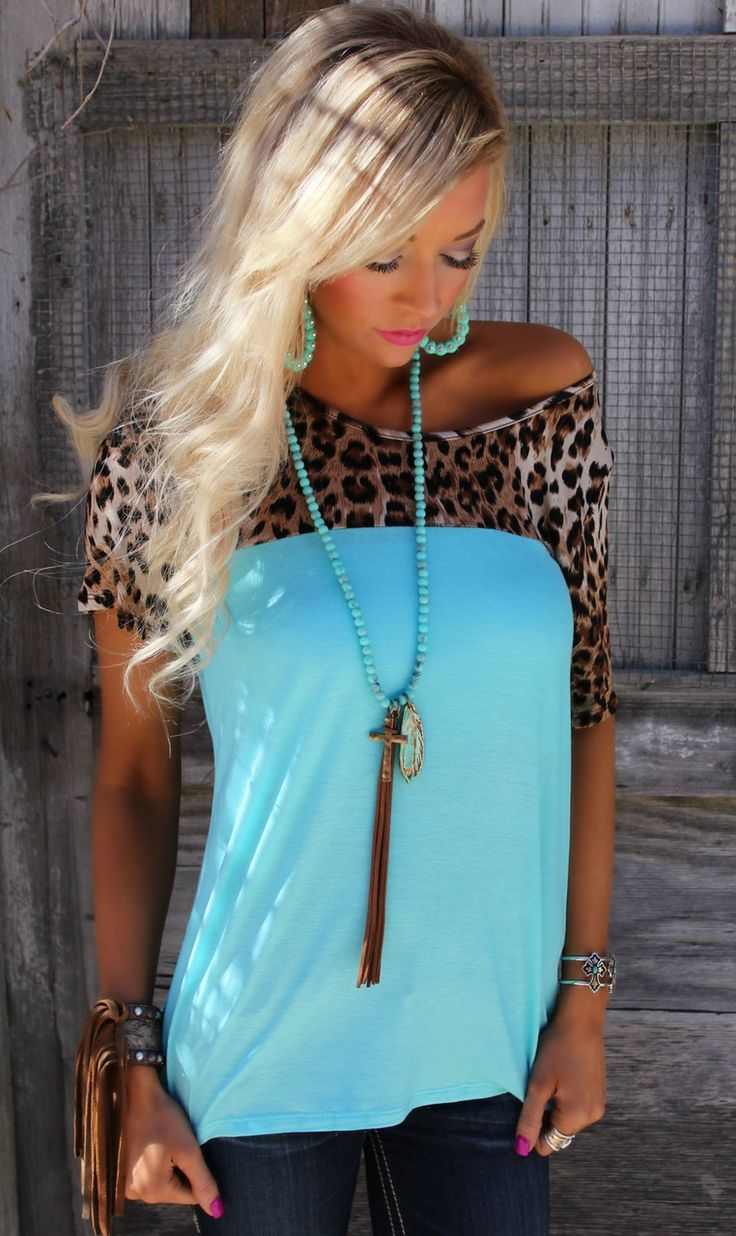 Use code ASHLEYH10 at checkout for 10% off Tiffany Turquoise and Leopard Top - The Lace Cactus