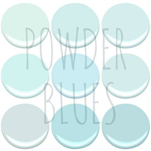 NOW TRENDING – POWDER BLUES - BENJAMIN MOORE POWDER BLUES – BLUE BONNET, CLEAR SKIES, ICY BLUE, ICY MOON DROPS, LIGHT BLUE, MORNING SKY BLUE, OCEAN AIR, TEAR DROP BLUE AND SKYSCRAPER