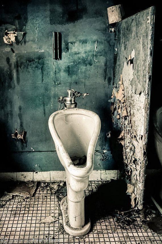 URINAL ART. Abandoned Stall Urban Exploration Old by garyhellerphotograph