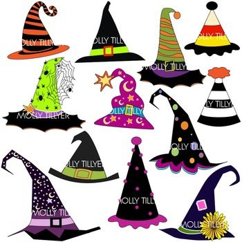 witch hat clip art, school clipart, clipart for teachers, teacher clipart, teacher clip art, teachers pay teachers, white and black witch hat clip art included, all png (transparent background) images