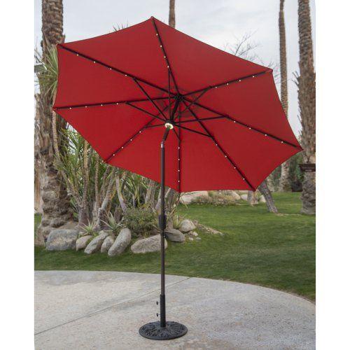 Coral Coast 9 ft. Steel Solar Lighted Push Button Tilt Patio Umbrella
