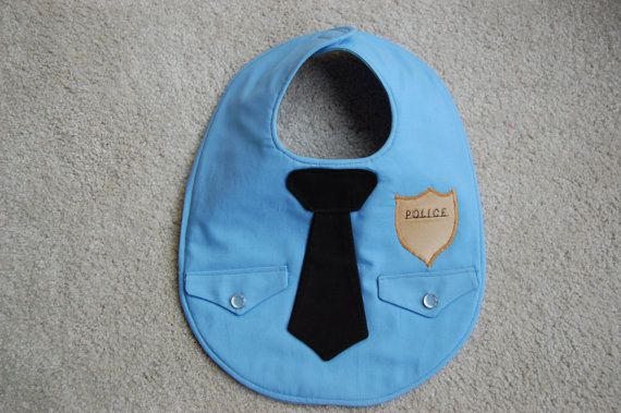 Police Officer Baby Bib $18 by CarolynsClassics