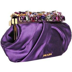 {Bags, Clutches, Purses} Purple silk Prada clutch #Prada #purple #clutch