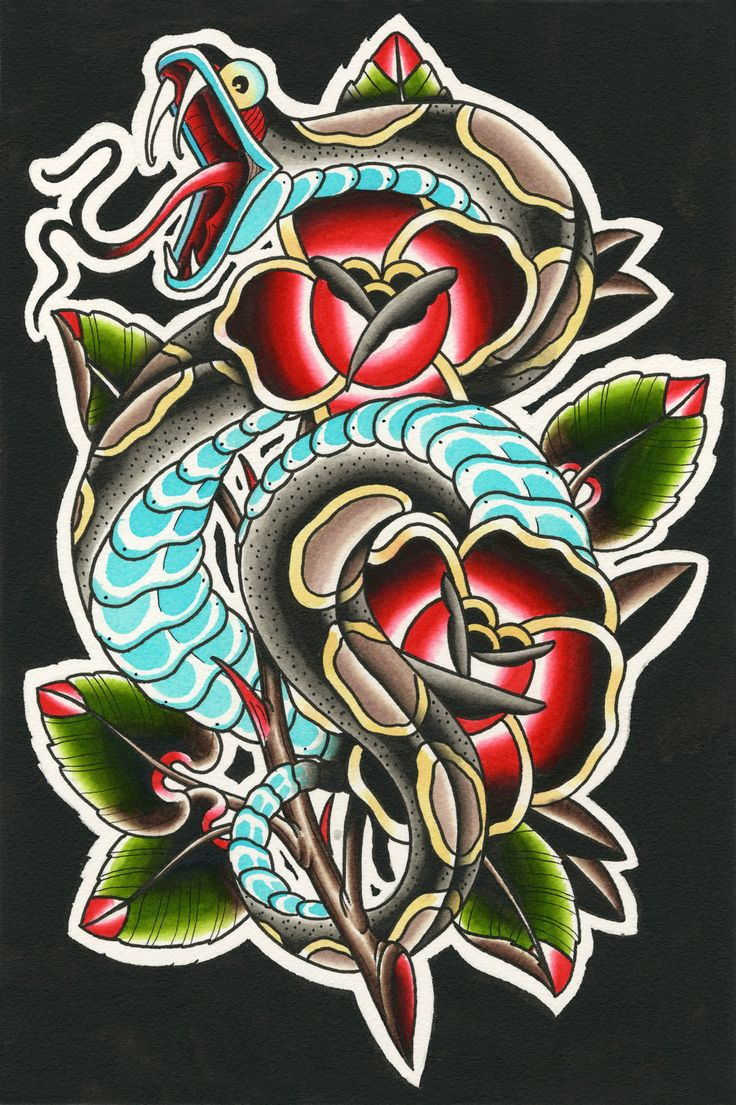 print of a traditional tattoo water color by NickPhillipsTattoos