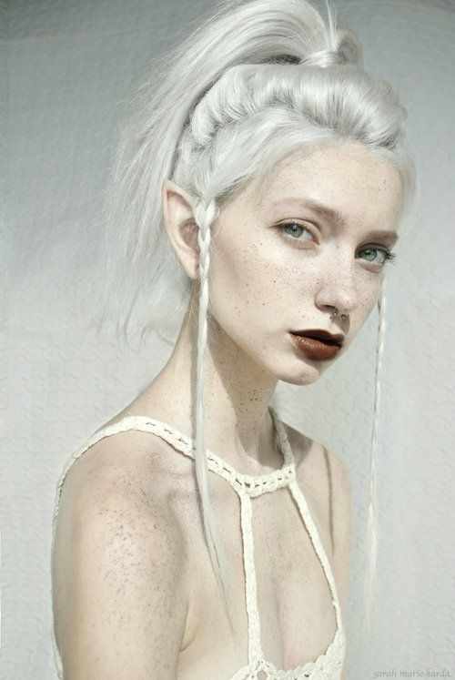 Simple, gorgeous.  White on white on white. (model sarah marie karda) White hair