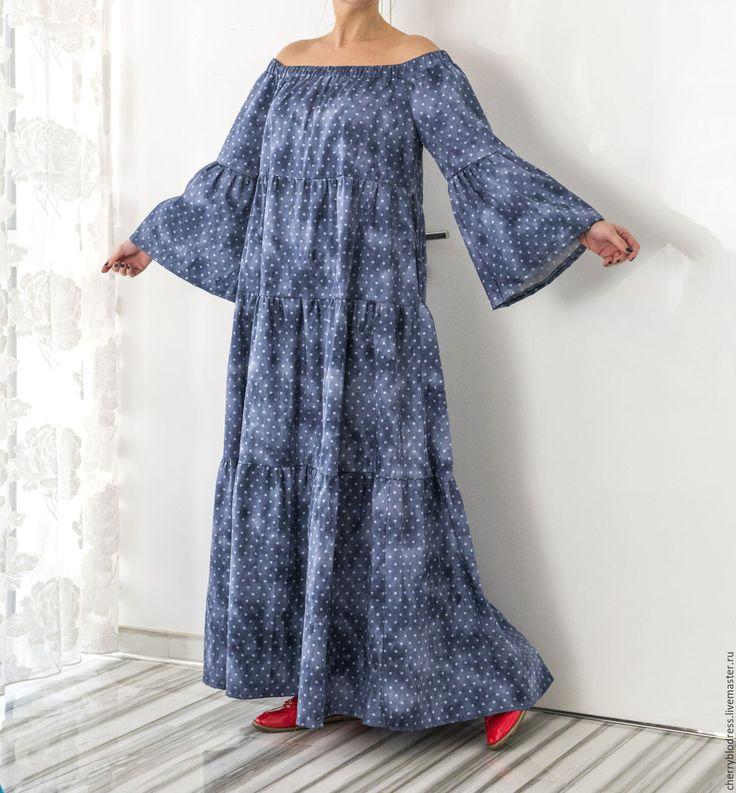 Купить Синее в горошек летнее длинное макси бохо платье ручной работы в интернет магазине на Ярмарке Мастеров