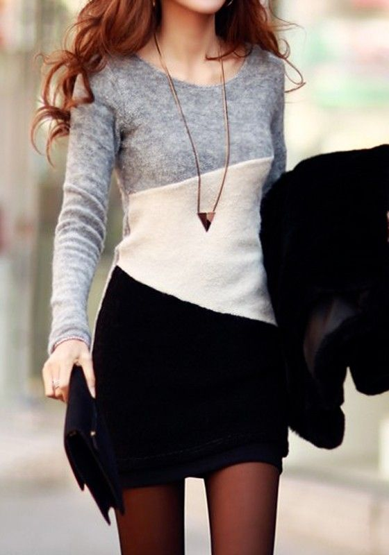Grey Color Block Print Long Sleeve Bodycon Loose-fitting Knit Sweet Mini Dress
