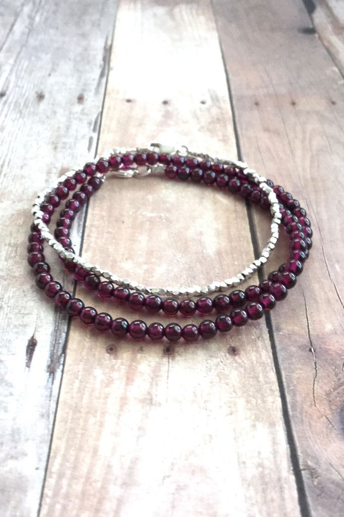 Genuine Garnet Bracelet, Small Bead Gemstone Jewelry, Double Wrap Bracelet