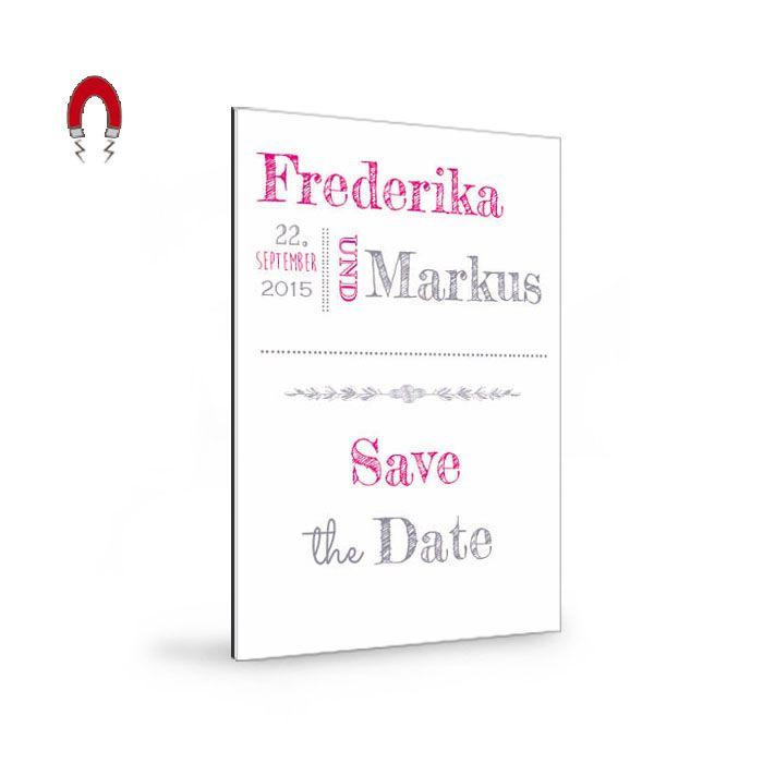 Mit den außergewöhnlichen Save the Date-Magnetkarten sichern Sie sich nicht nur Ihren Hochzeitstag, sondern auch die Bewunderung Ihrer Gäste.
