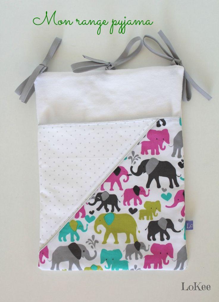 Range pyjama et doudou éléphants et petits pois