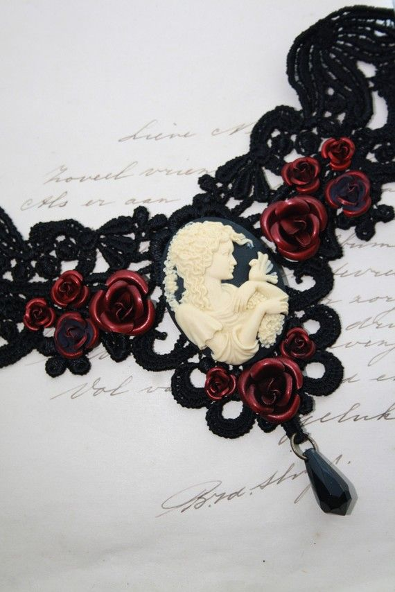 Romantic cameo choker with roses by poppenkraal on Etsy, $39.90