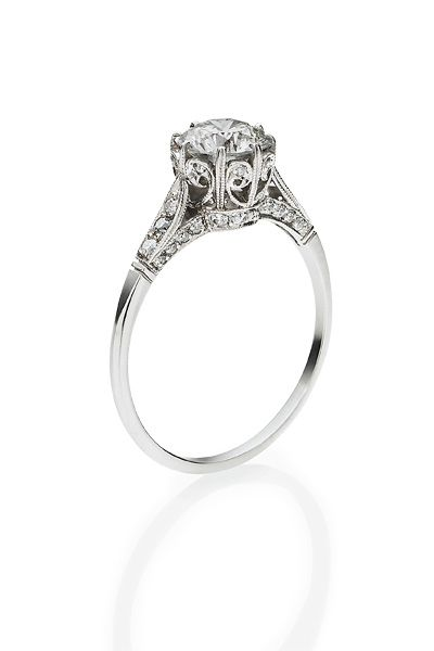 Left: Keshett round brilliant-cut diamonds, set in platinum.