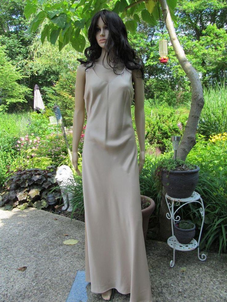 $18 David's Bridal 14 MSRP $129 Gold Nude Fitted Long Formal Bridesmaid Maxi Gown Dress #DavidsBridal #Maxi #Formal
